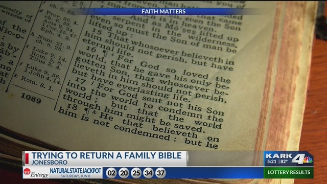 Woman trying to return family Bible to original owners